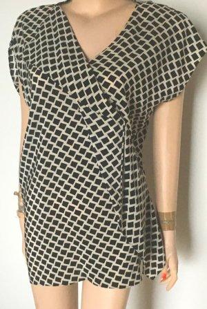 Laurèl Tunique-blouse blanc-noir soie