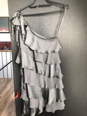 Sisley Vestido estilo flounce gris-color plata