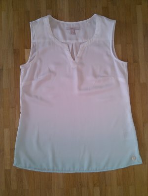 Esprit Mouwloze blouse wit-turkoois Polyester
