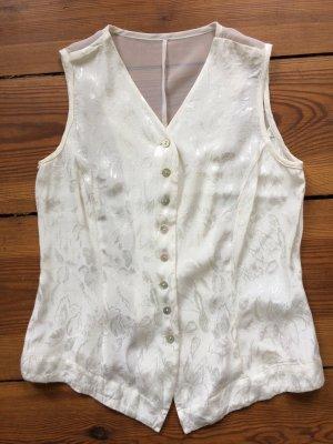 Seidige Bluse Esprit Weiß Weste Schulterfrei Blumen Blogger Trend