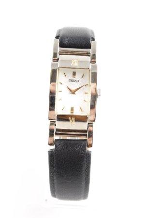 Seiko Horloge met lederen riempje zilver-zwart elegant