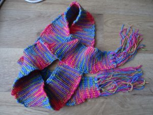 Handmade Knitted Scarf multicolored cotton