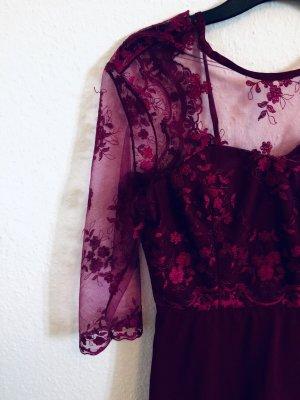 Lace Dress bordeaux silk