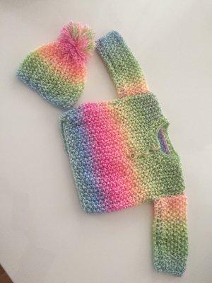 *Selbstgestrickt* Traumhafter Regenbogen-Pullover + Mützchen