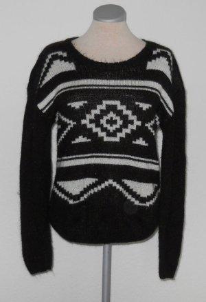Select Pullover grafik schwarz weiß Gr. UK 8 36 S gothic retro