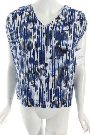 Selected Femme ärmellose Bluse dunkelblau-weiß abstraktes Muster