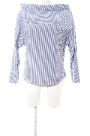 Selected Femme Carmen-Bluse weiß-blau Streifenmuster Business-Look