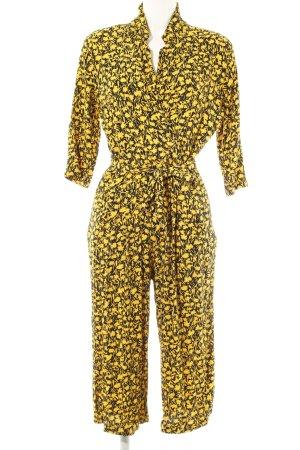 Selected Femme Jumpsuit dunkelgelb-schwarz florales Muster Boho-Look