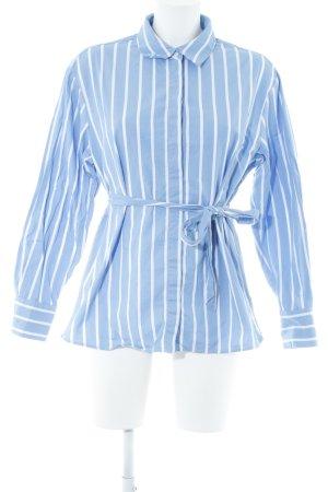 Selected Femme Langarm-Bluse stahlblau-weiß Streifenmuster Casual-Look