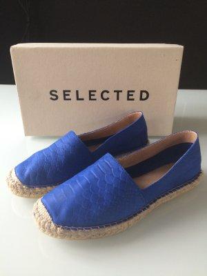 Selected Femme Leder Espadrilles Blau