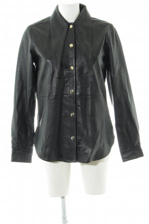 Selected Femme Leather Blouse black simple style
