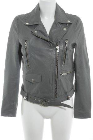 Selected Femme Lederjacke grau Biker-Look