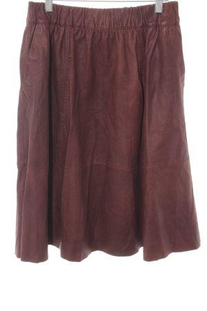 Selected Femme Falda de cuero rojo amarronado-negro look casual