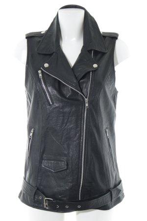 Selected Femme Leren vest zwart Biker-look