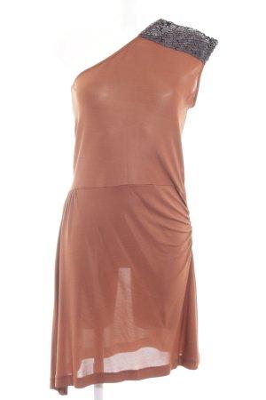 Selected Femme Vestido de un hombro marrón-negro estilo extravagante