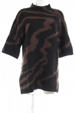 Selected Femme Oversized trui zwart-donkerbruin abstract patroon