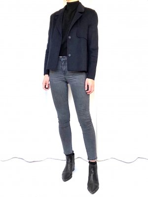 Selected Femme Premium Hand Made Wolljacke Nachtblau Clean Chic Cosy Minimalist Skandinavien NP 170,-