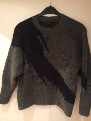 Selected Femme Pull en laine noir-vert foncé