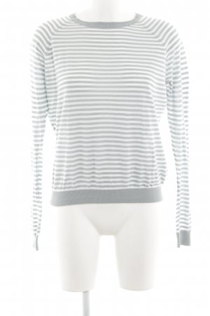 Selected Femme Rundhalspullover hellgrau-weiß Streifenmuster Casual-Look