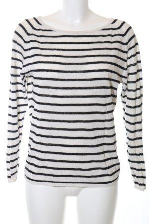 Selected Femme Strickpullover weiß-schwarz Streifenmuster Casual-Look