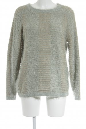 Selected Femme Strickpullover wollweiß-hellgrün Streifenmuster Casual-Look