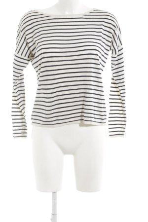 Selected Femme Strickshirt dunkelblau-creme Ringelmuster Casual-Look