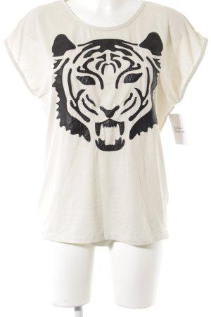 Selected Femme T-Shirt creme-schwarz Animalmuster sportlicher Stil