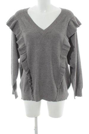 Selected Femme Jersey con cuello de pico gris Patrón de tejido look casual