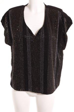 Selected Femme V-Ausschnitt-Shirt schwarz-goldfarben Elegant