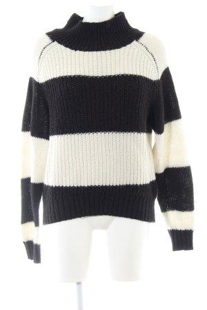 Selected Femme Wollpullover schwarz-weiß Streifenmuster Casual-Look