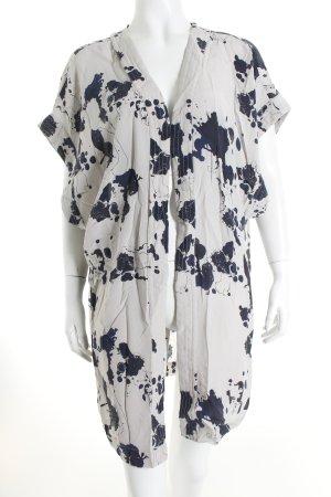 Selected Kimono-Bluse hellgrau-dunkelblau abstraktes Muster Casual-Look