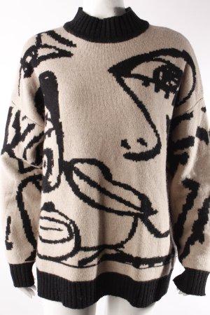 Selected Pullover beige-schwarz gemustert