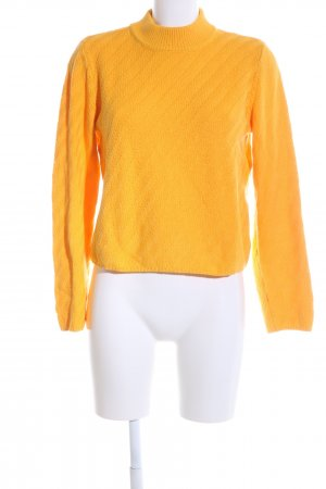 Selected Strickpullover hellorange Zopfmuster Casual-Look