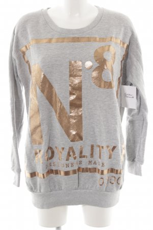 Selected Sweatshirt hellgrau-roségoldfarben Motivdruck Glanz-Optik