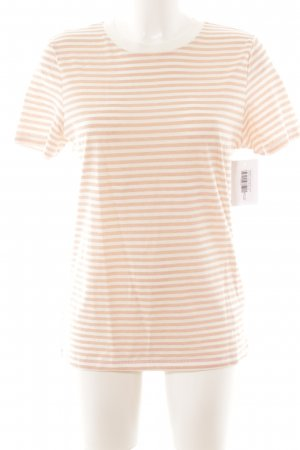 Selected T-Shirt apricot-wollweiß Streifenmuster Casual-Look
