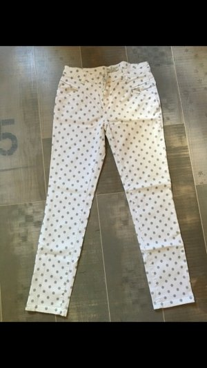 Selected Touch Jeans weiß grau Punkte Gr. M