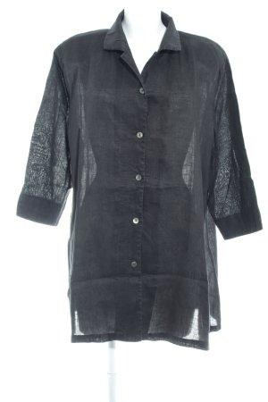 Selection by Ulla Popken Blusa de lino negro look casual