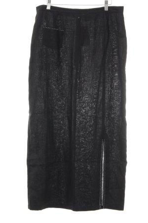 Selection by Ulla Popken Falda de lino negro-color plata look casual
