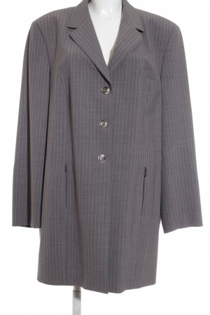 Selection by Ulla Popken Long-Blazer grau-blassgelb Streifenmuster Business-Look