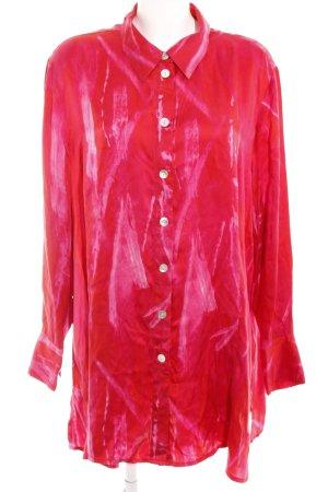 Selection by Ulla Popken Seidenbluse rot-pink abstraktes Muster Elegant