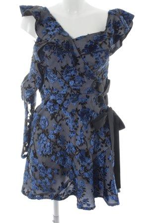 self - portrait Abendkleid schwarz-blau florales Muster extravaganter Stil