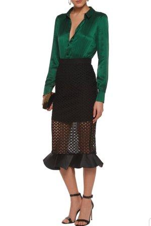 SELF-PORTRAIT Cocktailkleid Seide Grün Schwarz Abendkleid
