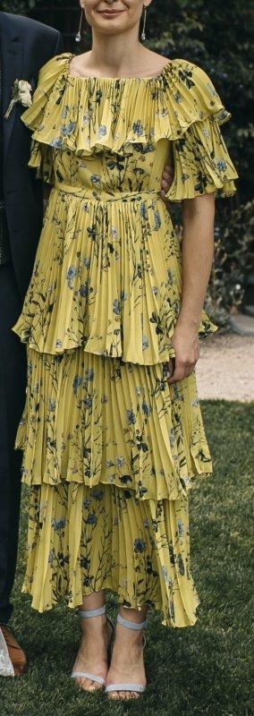 self - portrait Yellow Floral Printed Chiffon Dress 2018