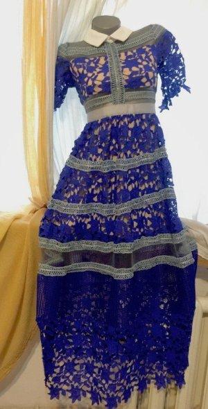 Self portrat Kleid dress M blue/Blau embroidery crochet new long