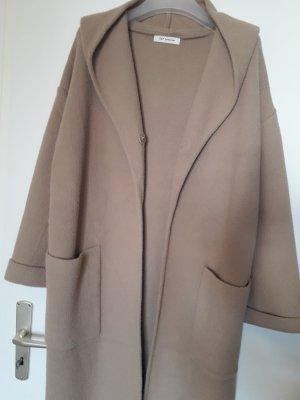 Manteau à capuche beige tissu mixte