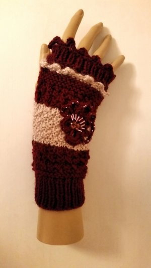 Fingerless Gloves bordeaux-dusky pink wool