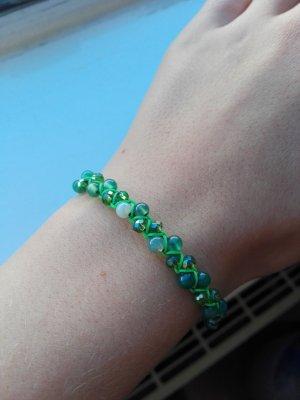 Selfmade Perlenarmband urban chic grün türkis geflochten Armband