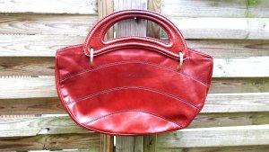 Selten ovale Vintage Ledertasche Xl Shopper Tasche Henkeltasche Handemade Italy
