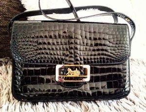 Seltene Celine Paris Vintage Tasche Schultertasche Handtasche Echt Lack Leder Schwarz