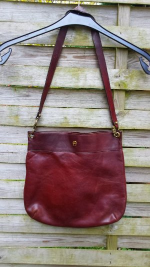 Etienne Aigner Pouch Bag dark red leather